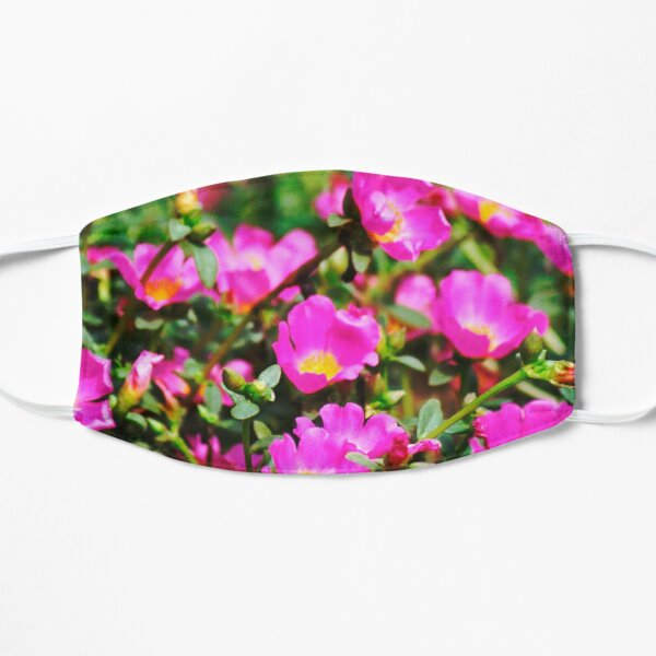 Pink and Yellow Moss Rose Flowers Mask