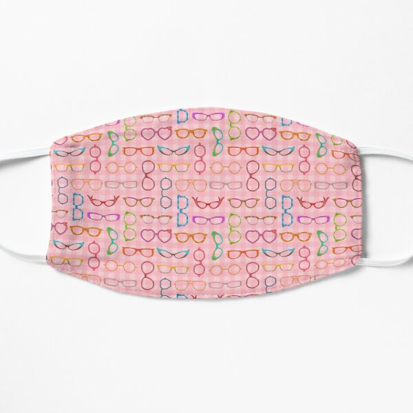 Eyeglasses Retro Modern Hipster Pink Gingham Ver 2 Mask