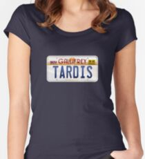 TARDIS License Plate Women's Fitted Scoop T-Shirt