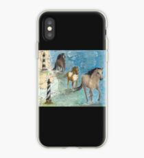 Mustang Horses Outer Banks Lighthouse Peek Map iPhone Case