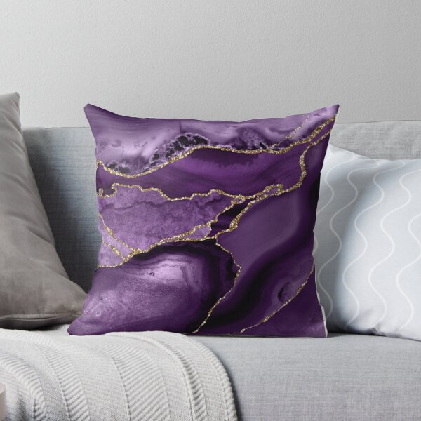 Purple Marble Abstract Landscapes Throw Pillow