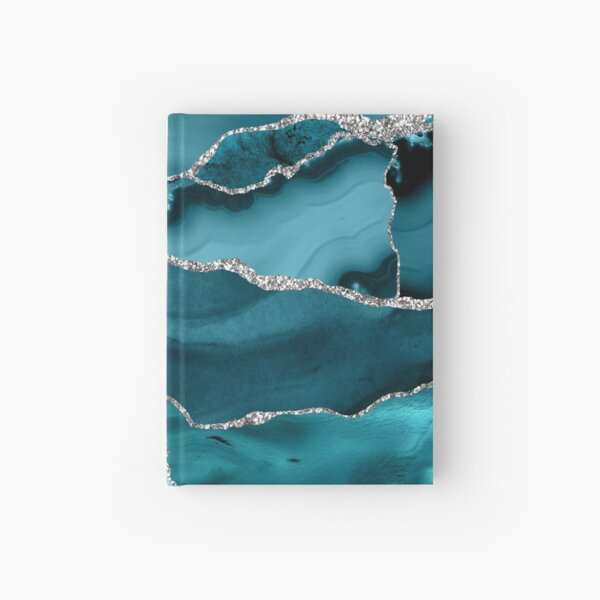 Trend Turquoise Marble Textures  Hardcover Journal