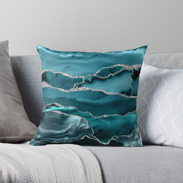 Trend Turquoise Marble Textures  Throw Pillow
