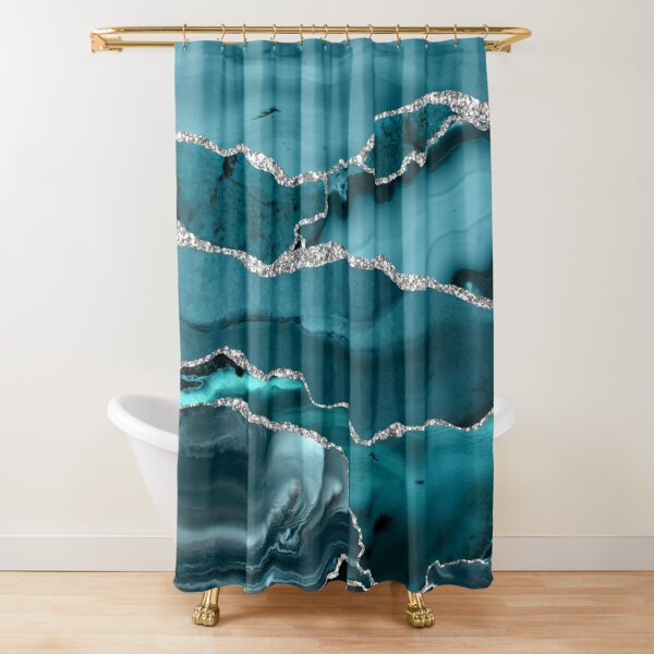 Trend Turquoise Marble Textures  Shower Curtain