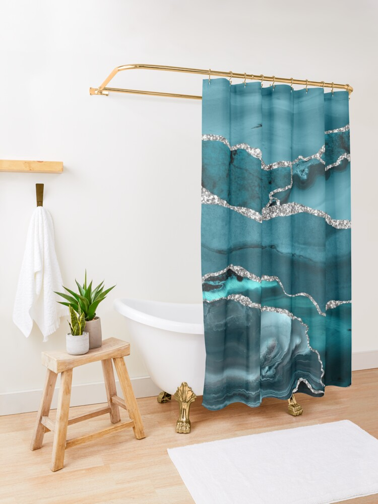 Alternate view of Trend Turquoise Marble Textures  Shower Curtain