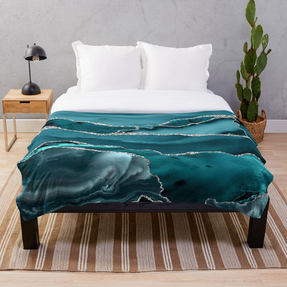Trend Turquoise Marble Textures  Throw Blanket