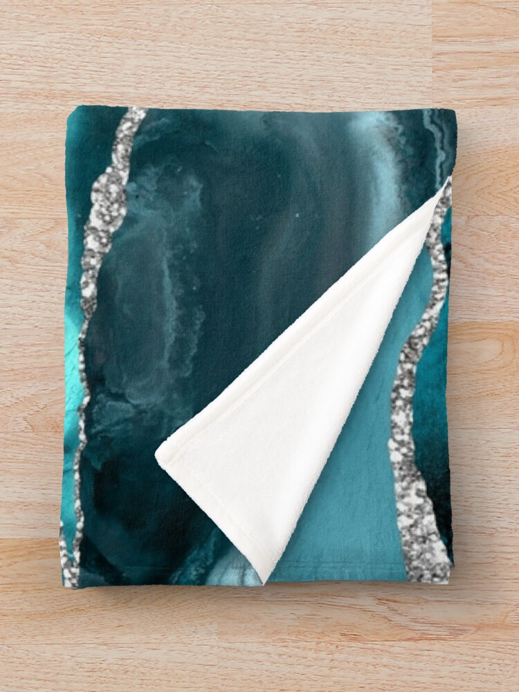Alternate view of Trend Turquoise Marble Textures  Throw Blanket