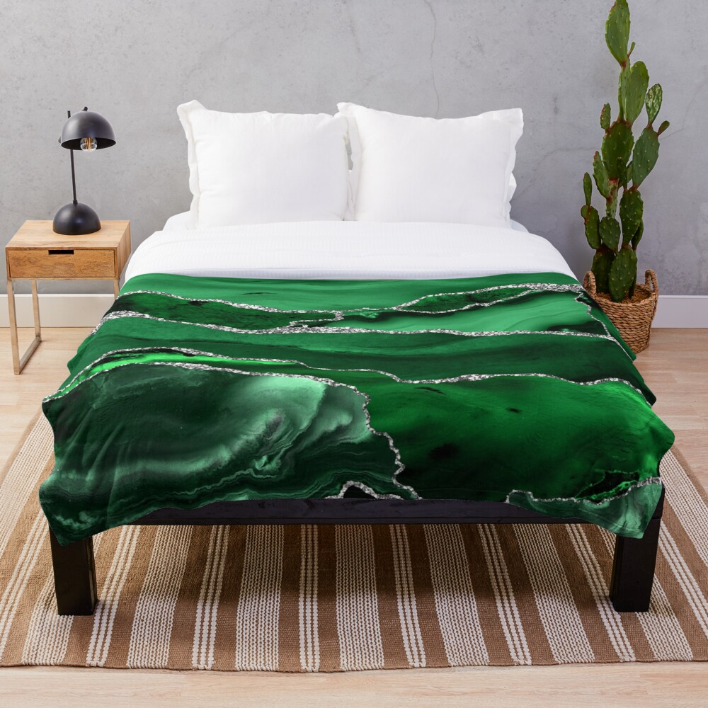 Emerald Malachite Marble Landscapes Throw Blanket