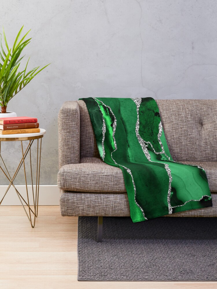Alternate view of Emerald Malachite Marble Landscapes Throw Blanket