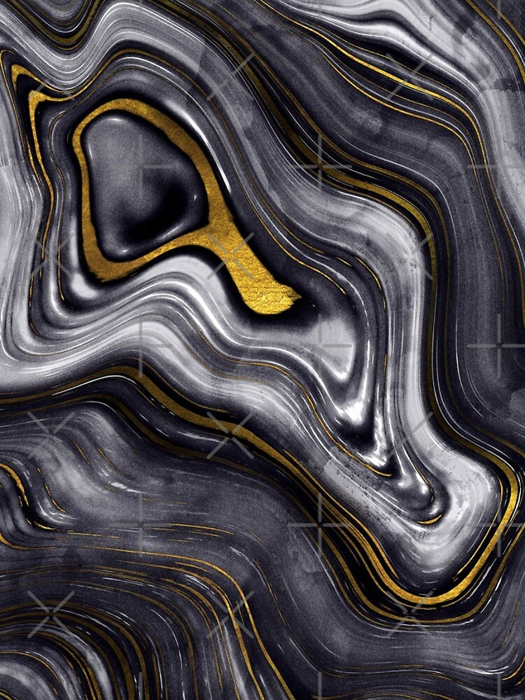 Black Ink Marble with Gold Veins by MysticMarble