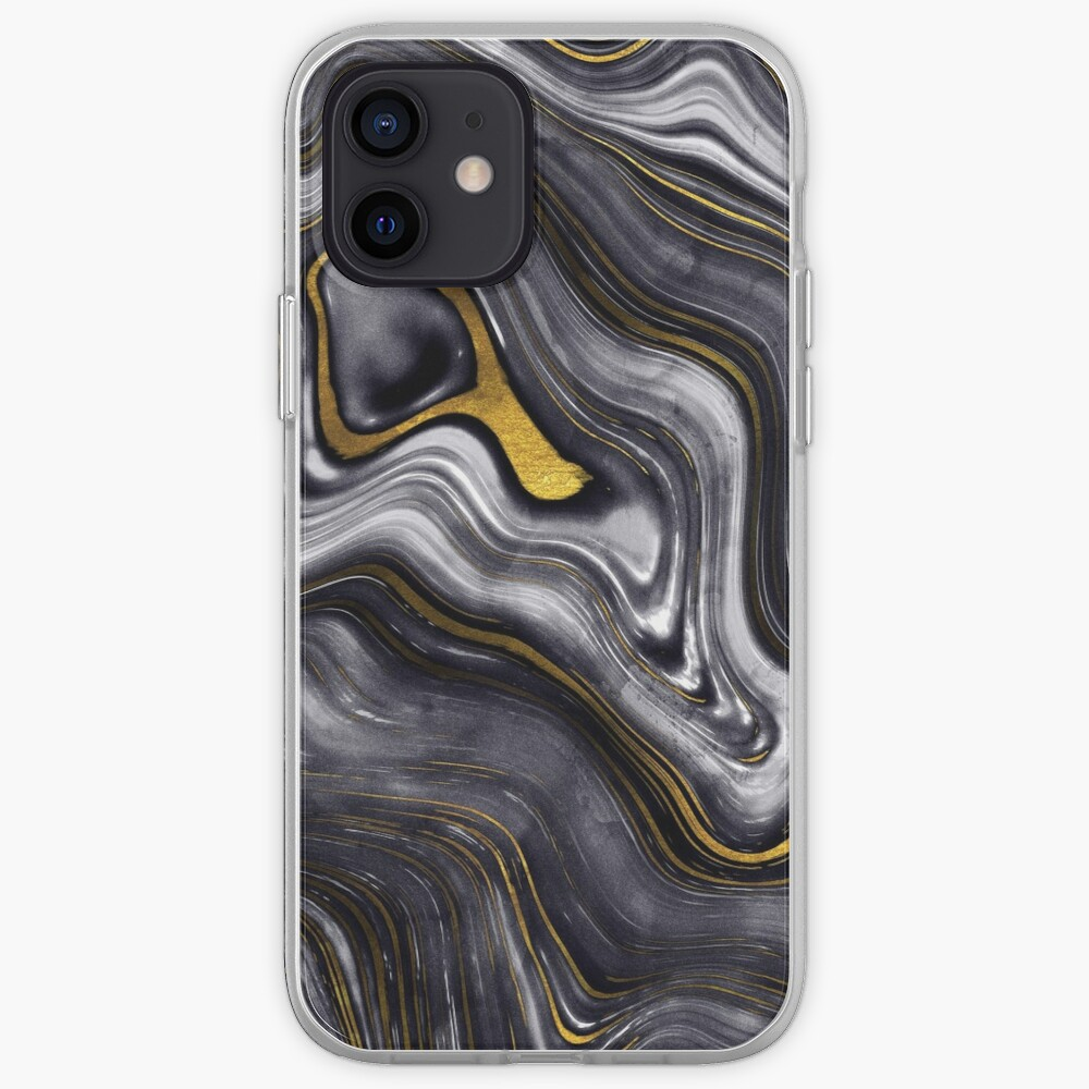 Black Ink Marble with Gold Veins iPhone Case & Cover