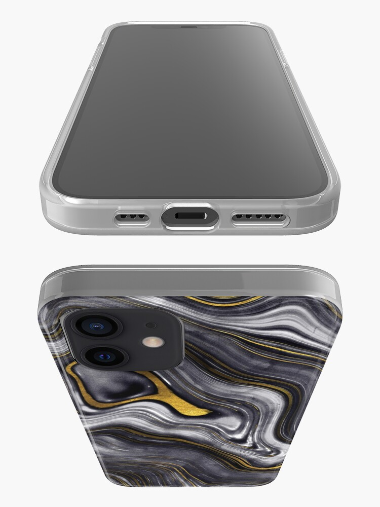 Alternate view of Black Ink Marble with Gold Veins iPhone Case & Cover