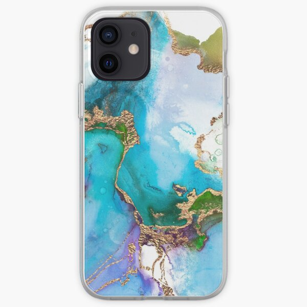 Abstract Marble Mermaid Gemstone With Gold Glitter iPhone Soft Case