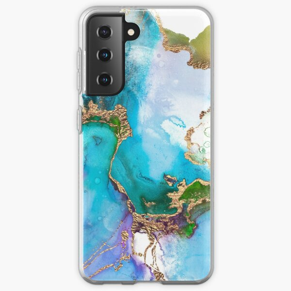 Abstract Marble Mermaid Gemstone With Gold Glitter Samsung Galaxy Soft Case