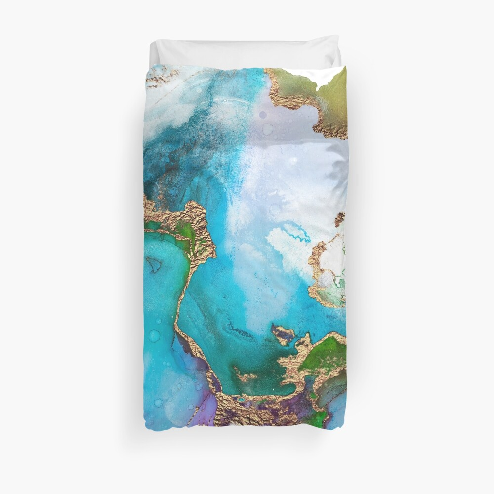 Abstract Marble Mermaid Gemstone With Gold Glitter Duvet Cover