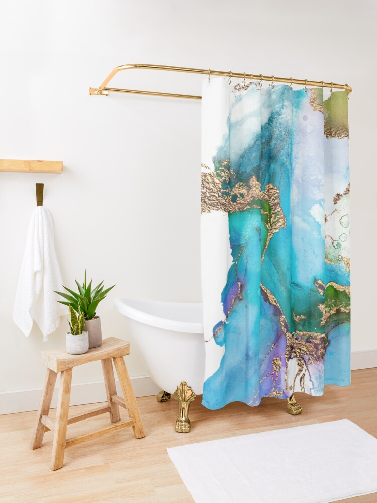 Alternate view of Abstract Marble Mermaid Gemstone With Gold Glitter Shower Curtain