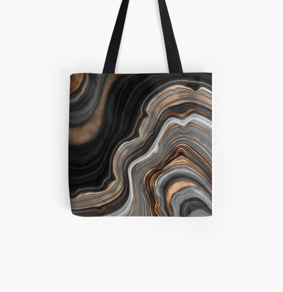 Elegant Black and Gray Marble with Gold Veins All Over Print Tote Bag