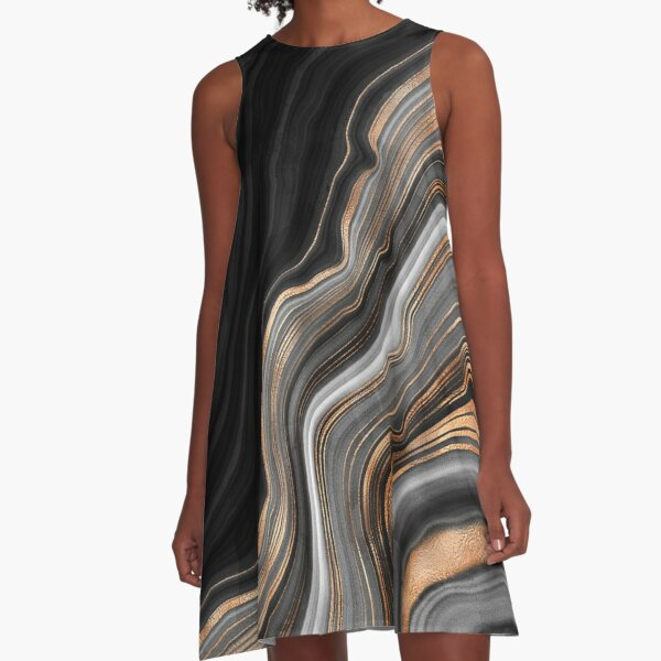 Elegant Black and Gray Marble with Gold Veins A-Line Dress