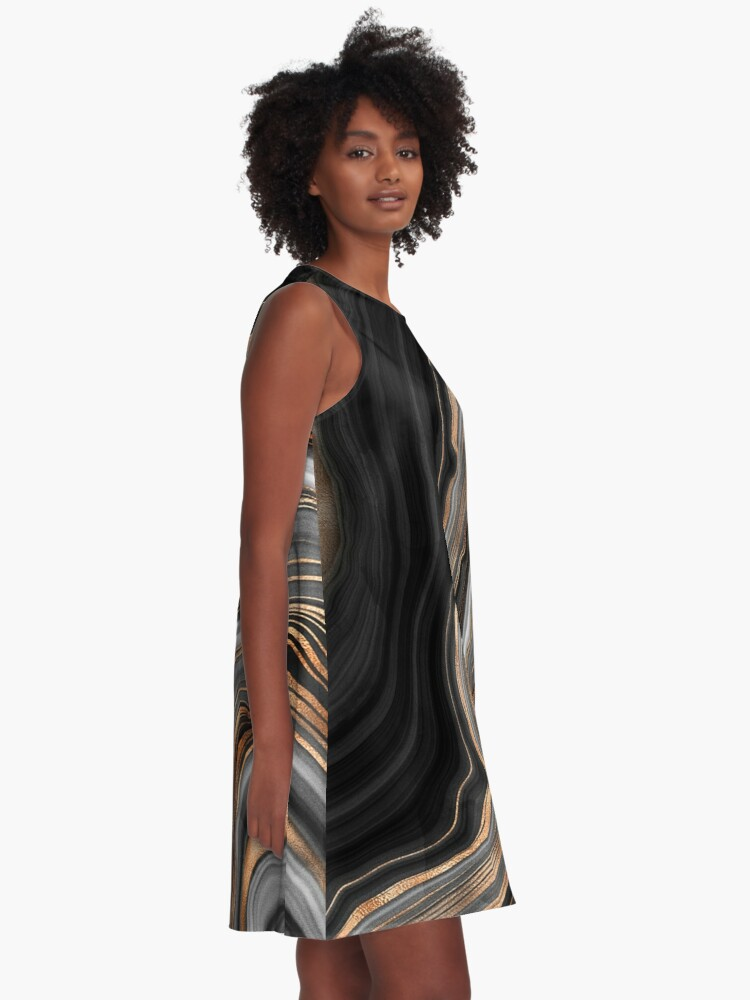 Alternate view of Elegant Black and Gray Marble with Gold Veins A-Line Dress