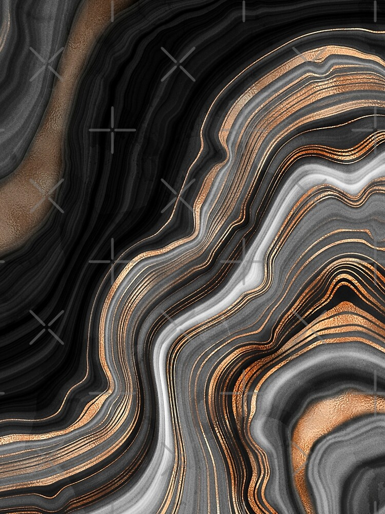 Elegant Black and Gray Marble with Gold Veins by MysticMarble
