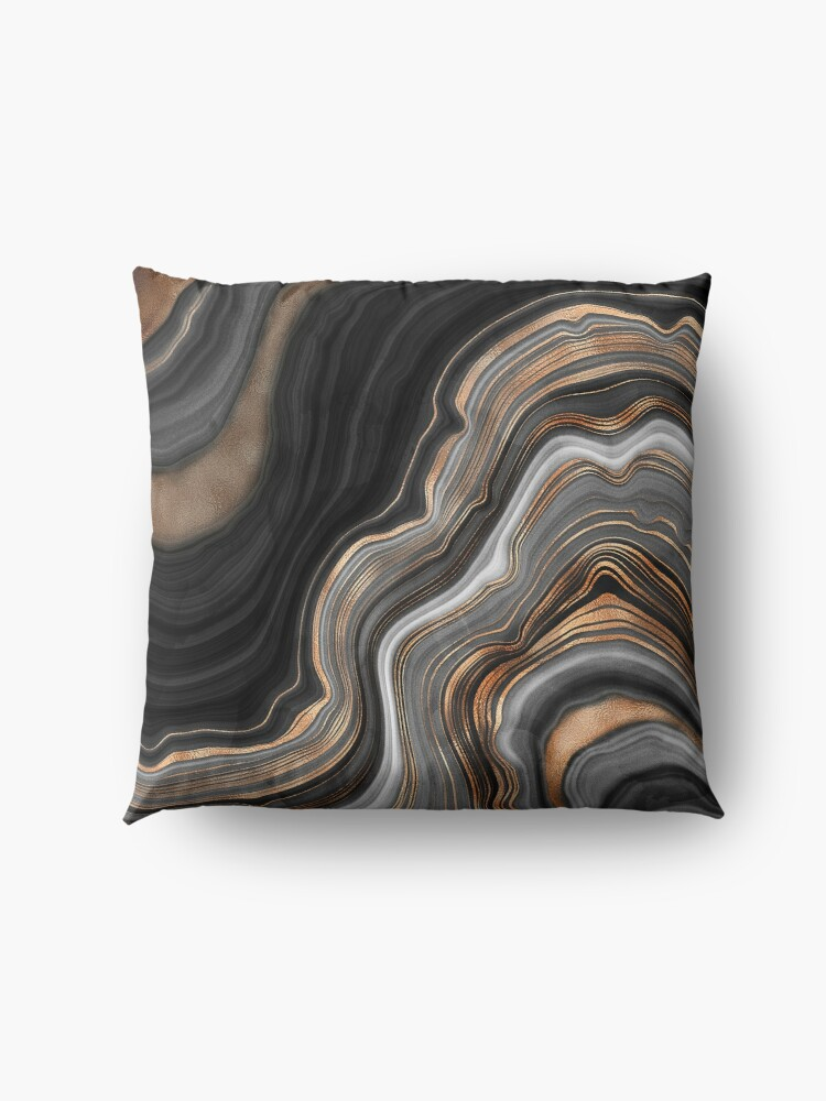 Alternate view of Elegant Black and Gray Marble with Gold Veins Floor Pillow