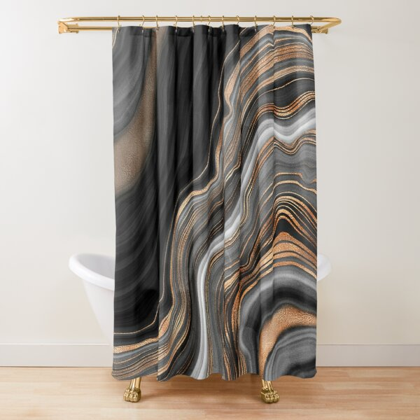 Elegant Black and Gray Marble with Gold Veins Shower Curtain