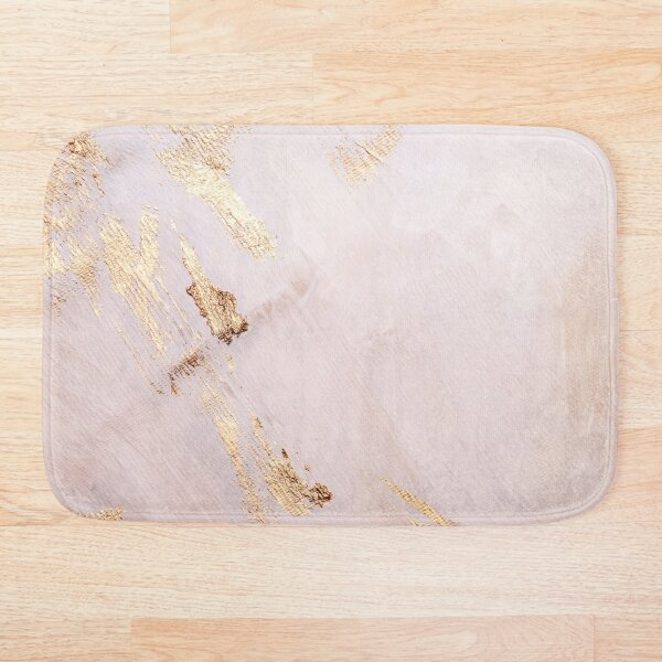 Rose Gold with Gold Strokes Texture Bath Mat
