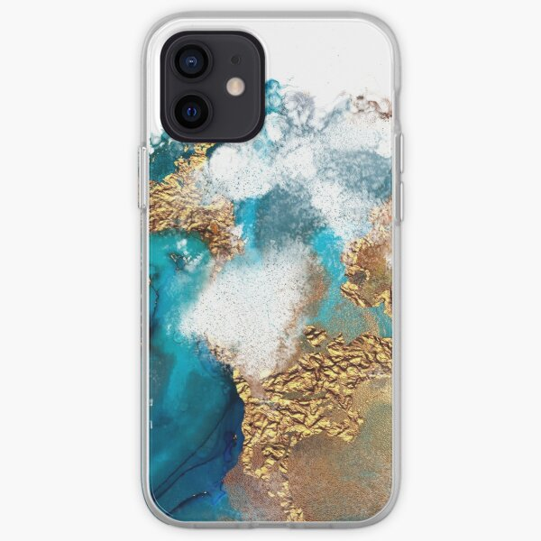 Glamorous gold and blue ink marble texture iPhone Soft Case