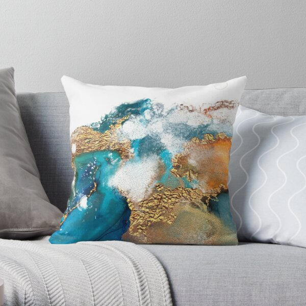 Glamorous gold and blue ink marble texture Throw Pillow