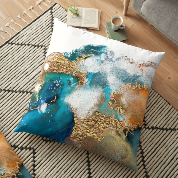 Glamorous gold and blue ink marble texture Floor Pillow