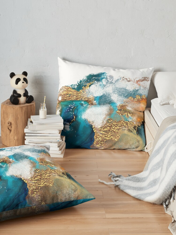 Alternate view of Glamorous gold and blue ink marble texture Floor Pillow