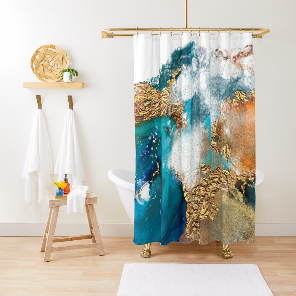 Glamorous gold and blue ink marble texture Shower Curtain