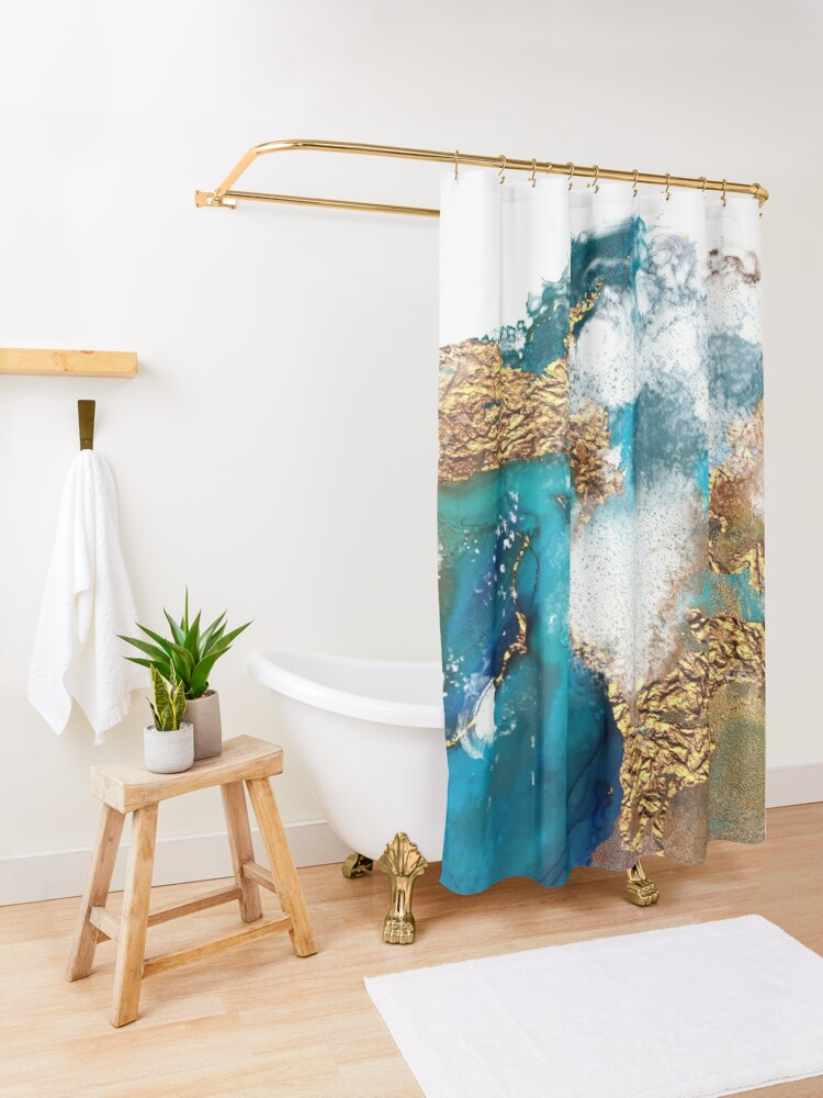 Alternate view of Glamorous gold and blue ink marble texture Shower Curtain