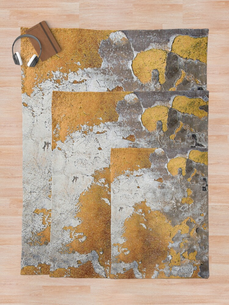 Alternate view of Metalfoil Gold Glamour on Gray Concrete Wall Throw Blanket