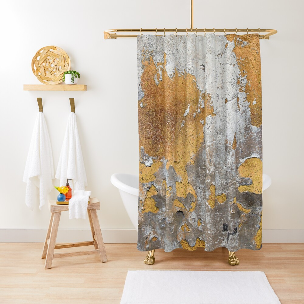 Metalfoil Gold Glamour on Gray Concrete Wall Shower Curtain