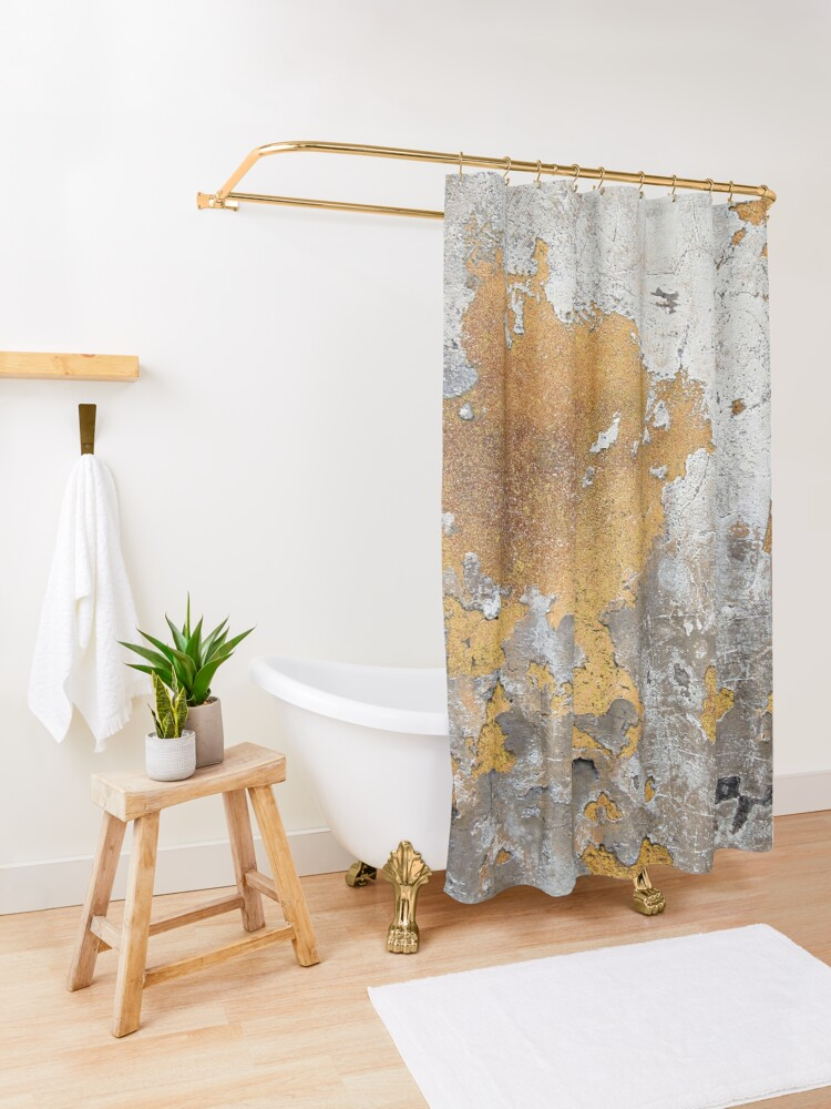 Alternate view of Metalfoil Gold Glamour on Gray Concrete Wall Shower Curtain