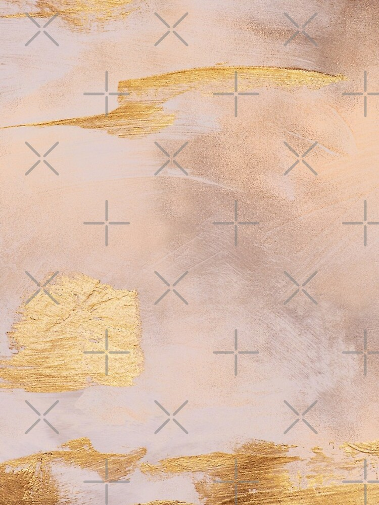 Gold Glamour on Rose Gold Blush Watercolor Texture by MysticMarble