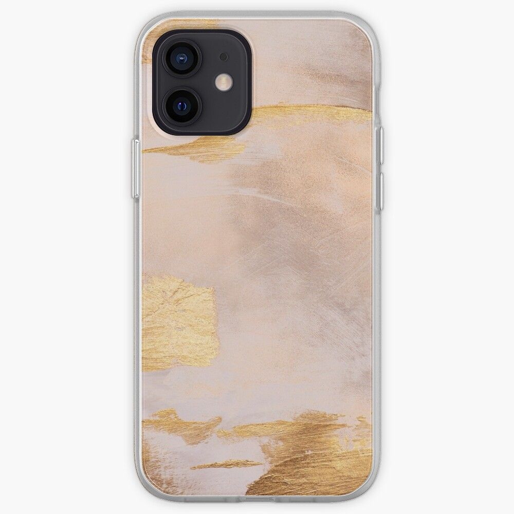 Gold Glamour on Rose Gold Blush Watercolor Texture iPhone Case & Cover