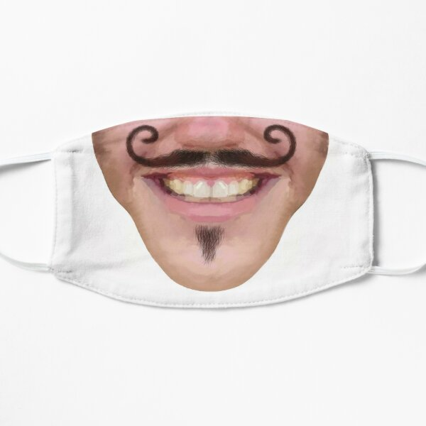 Curly Wax Moustache Facial Hair Male Novelty Face Mask Flat Mask