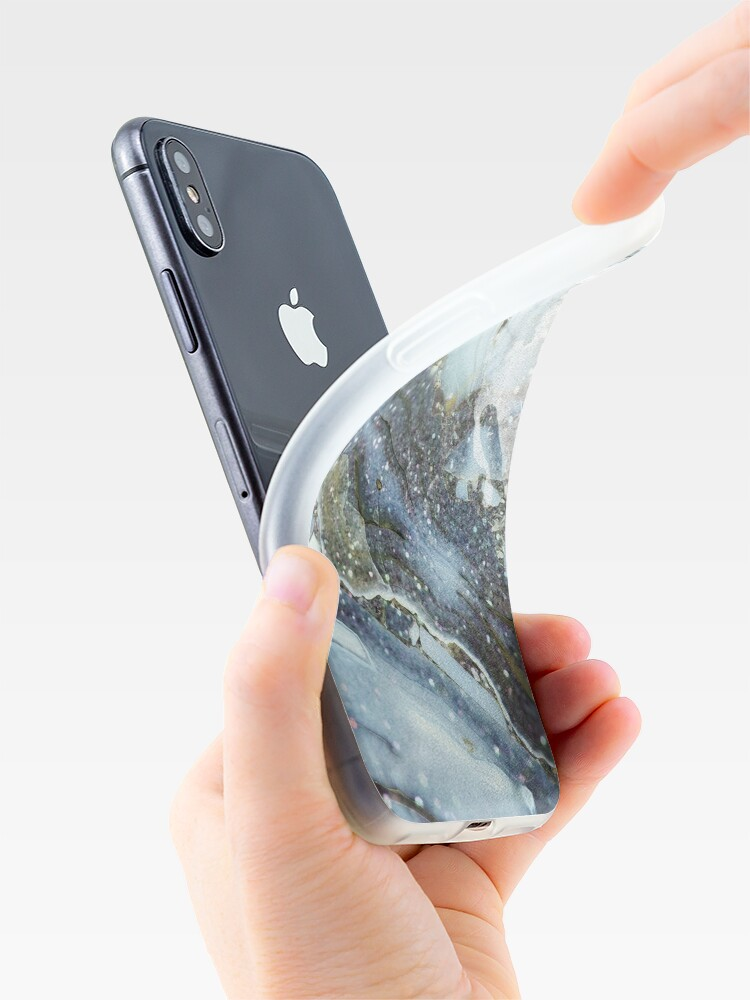 Alternate view of Blue and gray shimmering agate  iPhone Case & Cover
