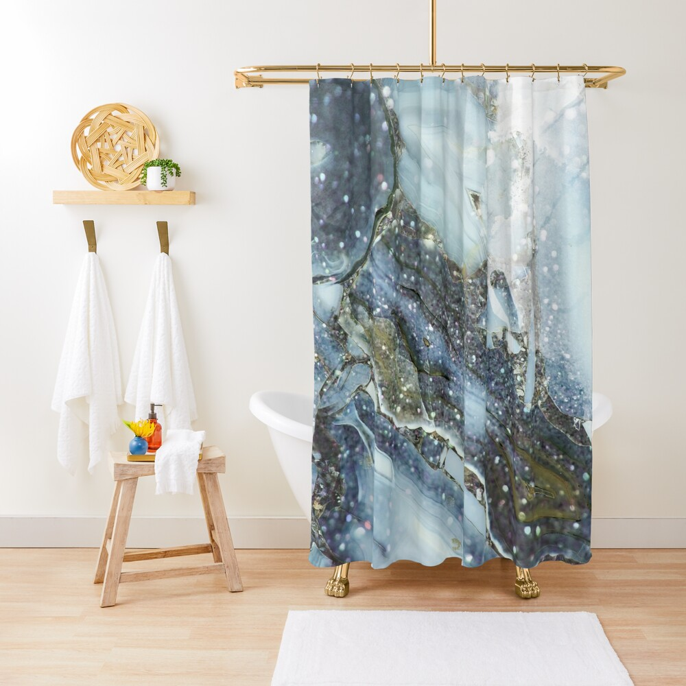 Blue and gray shimmering agate  Shower Curtain