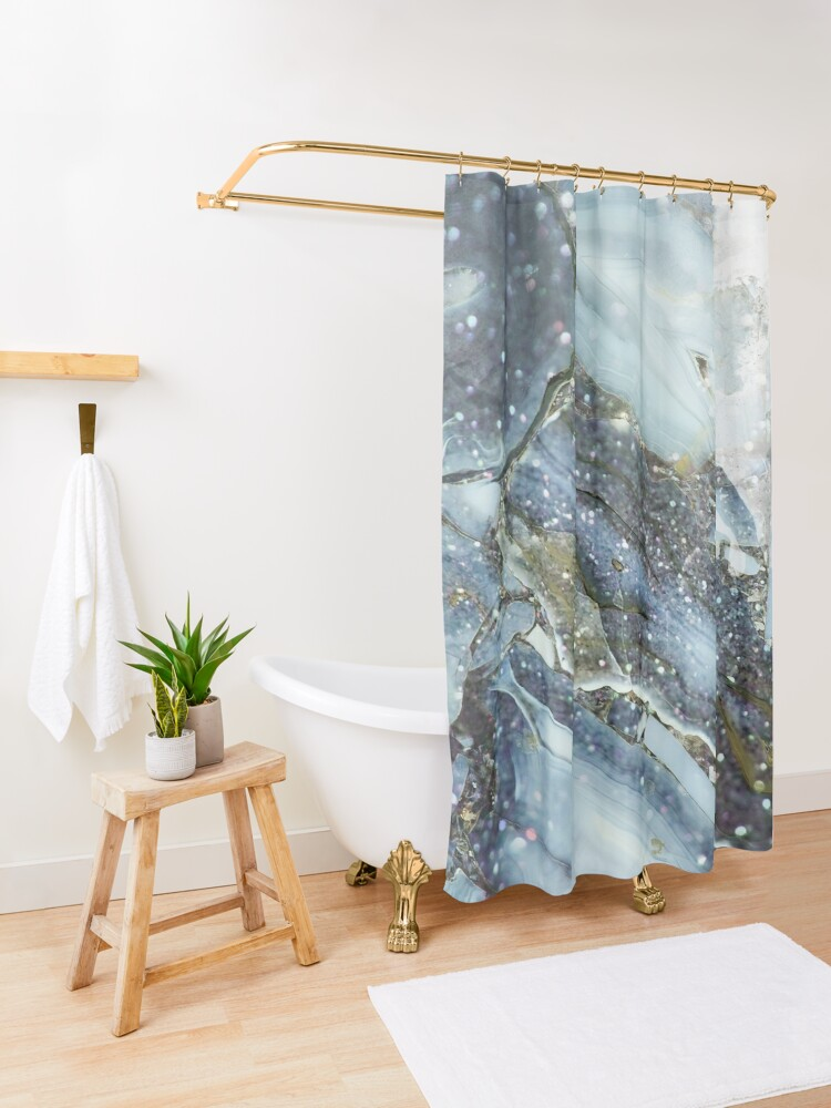 Alternate view of Blue and gray shimmering agate  Shower Curtain
