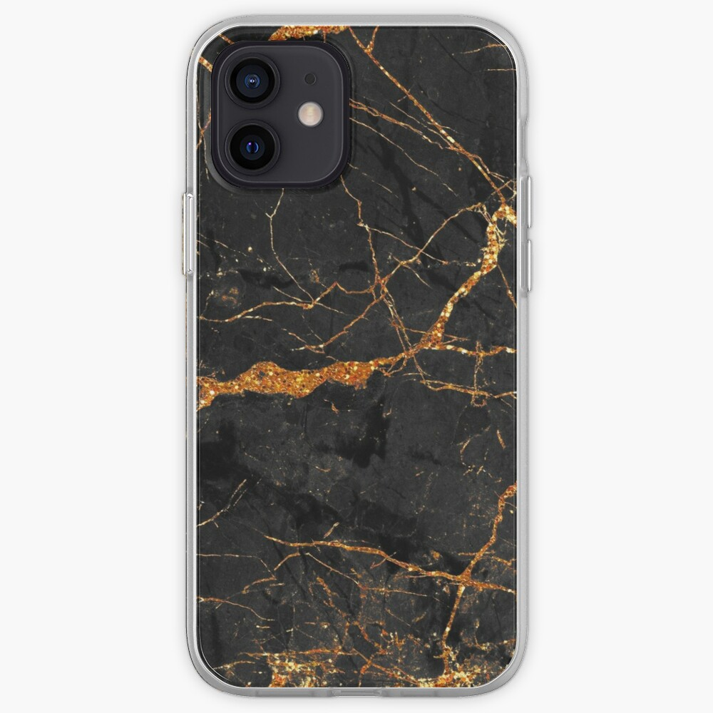 Black marble with gold glitter veins iPhone Case & Cover