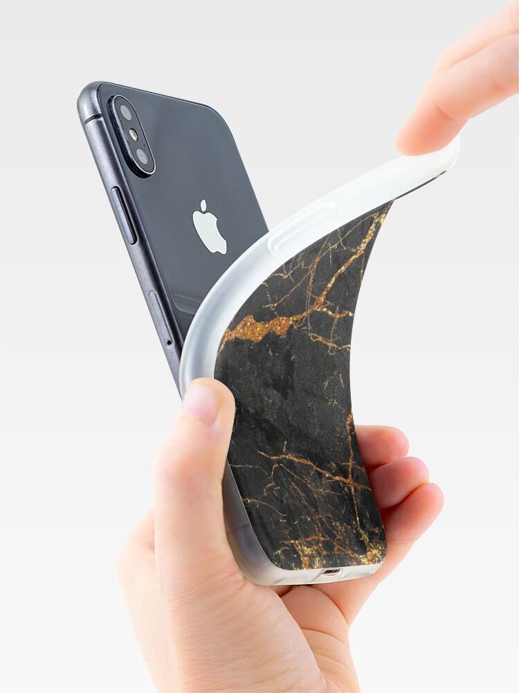 Alternate view of Black marble with gold glitter veins iPhone Case & Cover