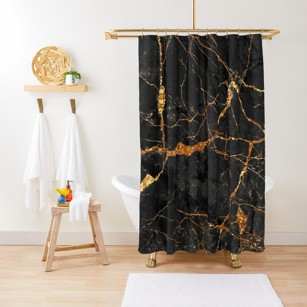 Black marble with gold glitter veins Shower Curtain