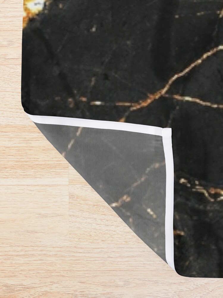 Alternate view of Black marble with gold glitter veins Shower Curtain