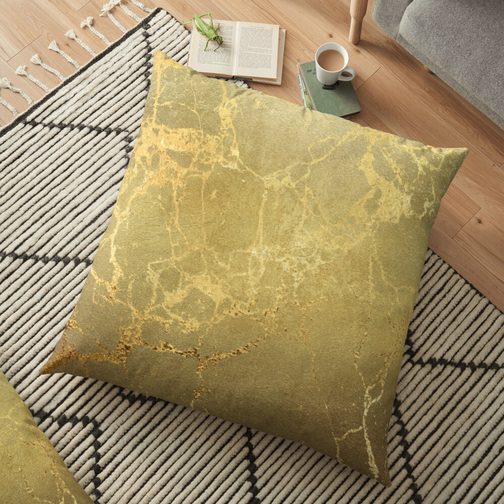 Gold Marble Texture with Gold Veins Floor Pillow
