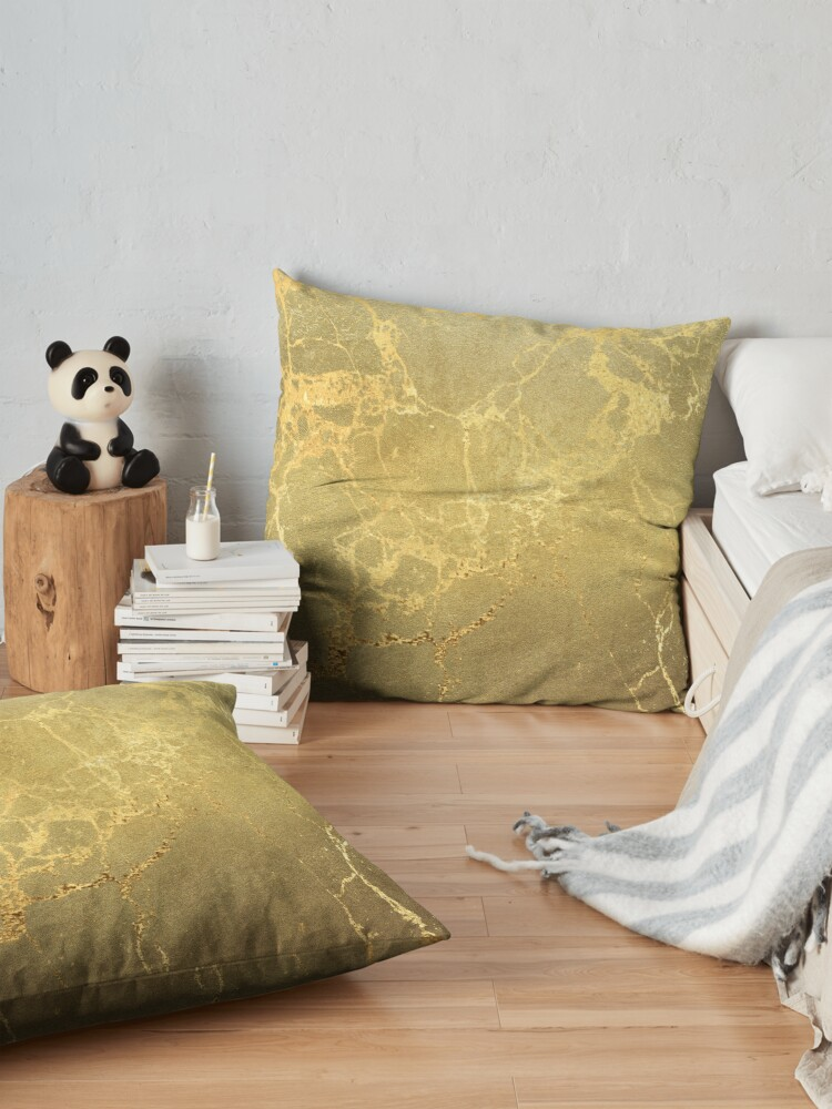 Alternate view of Gold Marble Texture with Gold Veins Floor Pillow