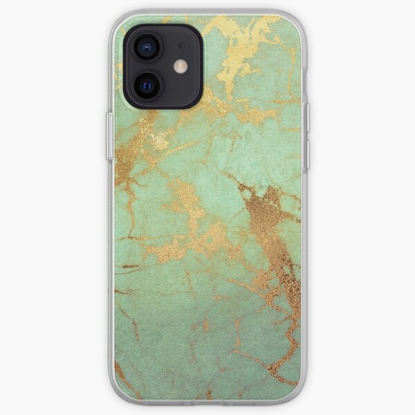 Mint Marble Texture with Gold Veins iPhone Soft Case
