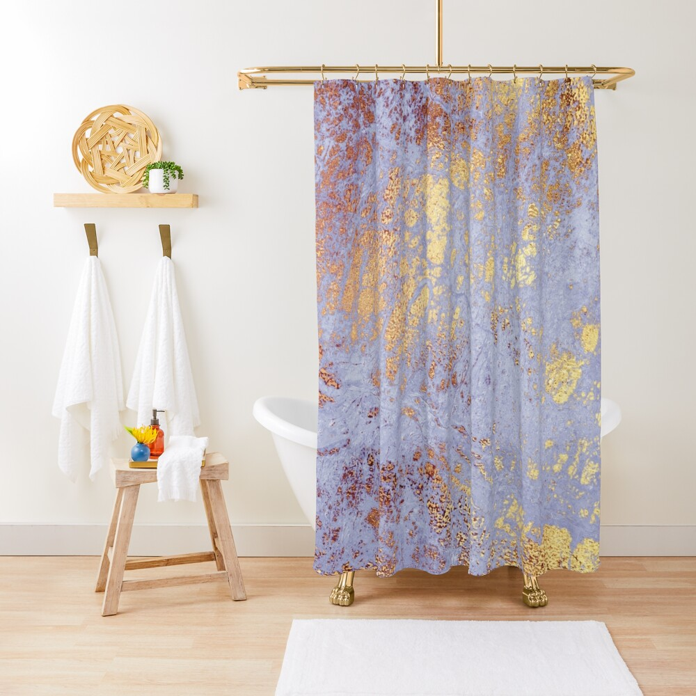 Purple Marble with Gold Veins  Shower Curtain